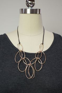 Madeleine necklace // bronze and leather statement necklace by megan auman