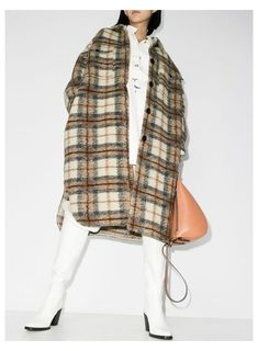 Boutiques, Poncho Coat, Check Coat, Winter Fashion Casual, Oversized Coat, Plaid Jacket, Beige, Girl Outfits, Black Outfits