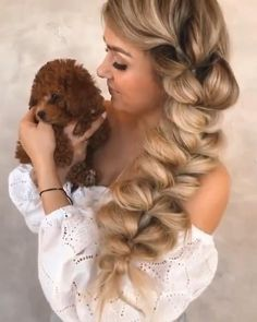 Easy Hairstyles For Thick Hair, Cute Ponytail Hairstyles, Braids For Long Hair, Pretty Hairstyles, Braided Hairstyles, Front Hair Styles, Curly Hair Styles, Hair Style Vedio, Seamless Hair Extensions