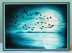 Today's card is annight version of the card  I posted yesterday. It is for the March Craft a Scene  challenge, with the theme of moonlight....