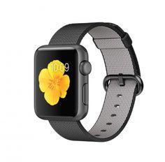 Apple Watch Sport spacegrijs alu 38mm zwart geweven nylon bandje  SHOP ONLINE: http://www.purelifestyle.be/shop/view/technology/apple-watch/apple-watch-sport-spacegrijs-alu-38mm-zwart-geweven-nylon-bandje