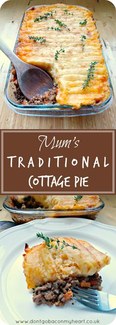 'A comforting and simple cottage pie recipe. Once you try Mum's Traditional Cottage Pie you won't have it any other way! Scottish Recipes, Irish Recipes, Meat Recipes, Cooking Recipes, Minced Beef Recipes, Recipies, Mince Dishes, Beef Dishes, Mince Meals