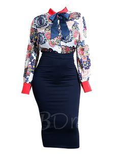 Color Block Print Bodycon Women's Two Piece Dress Color Block Print Bodycon Women& Skirt Suit Fashion Moda, Work Fashion, Womens Fashion, Classy Outfits, Cute Outfits, Dress Skirt, Skirt Suits, Pleated Skirt, Two Piece Dress