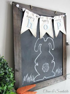 Cute Easter chalkboard and bunting.  // cleanandscentsible.com