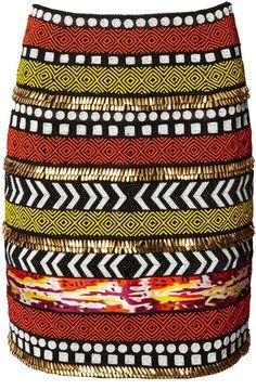 Orange & Black Tribal Beaded Skirt