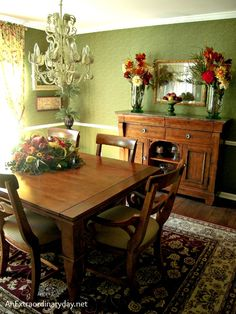 Stop by my friend's home with me to see how she beautifully decorated her dining room with the jewel tones of fall.