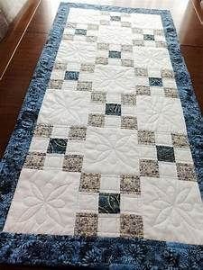 Patchwork quilted table runner blue gold and white Irish