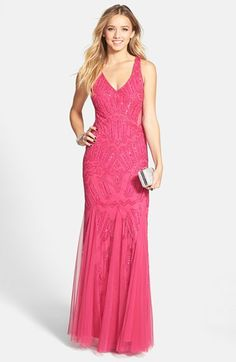 Adrianna Papell beaded prom/event gown. Illusion cutouts. Open back. Nordstom's.