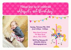 Carousel Horse Carnival Fair Birthday Twins Siblings Invitation Thank You Note Favors Address Labels Custom Photo (Powered by CubeCart) Photo Birthday Invitations, Card Birthday, 4th Birthday, Carousel Birthday Parties, Carousel Party, Carousel Horses, Horse Photos, Thank You Notes, Custom Labels