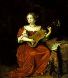 A lady playing the guitar (1669), Caspar Netscher