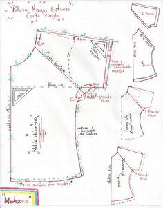 molde de blusa para niñas con manga enteriza y corte rangla con diseño cruzado en espalda