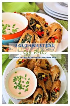 These aren't your ordinary plain Jane eggrolls, folks. These are deliciously flavorful Crispy Southwestern Egg Rolls, made with chicken, black beans, corn, jalapeño peppers, Colby Jack cheese, red sweet bell peppers, and spinach. Served with a bold Chipotle Ranch dipping sauce that you are going to absolutely love. Easy To Make Appetizers, Healthy Appetizers, Appetizer Recipes, Snack Recipes, Easy Party Food, Party Food And Drinks, Delicious Dinner Recipes, Great Recipes, Kitchen Recipes
