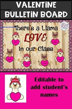 Valentines day bulletin board - #valentinesdaybulletinboardideas - This is a quick and easy resource for a new bulletin board. Just print and go. Included: 2 different llamas with hearts- you can write the student's names on these. They are in colored and black and white and I've included 2 different sizes. Letters for the phrase. I've included color and black and ...... Camping Bulletin Boards, Valentines Day Bulletin Board, Birthday Bulletin Boards, Reading Bulletin Boards, Bulletin Board Letters, Winter Bulletin Boards, Preschool Bulletin Boards, Bulletin Board Display, Kindness Bulletin Board