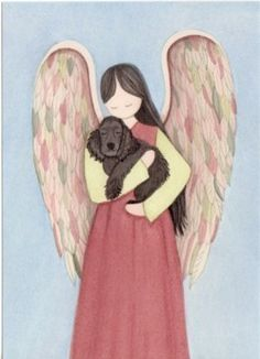 Black cocker spaniel with angel / Lynch signed by watercolorqueen, $13.26
