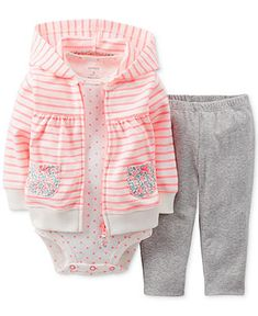 Carter's Baby Girls' 3-Piece Cardigan Set - Kids - Macy's
