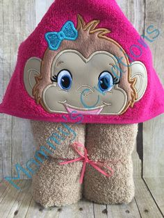 "Girl Monkey Applique Hooded Bath, Beach Towel 30"" x 54"" by MommysCraftCreations on Etsy"