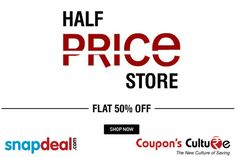 ‪#‎Snapdeal‬ ‪#‎Coupons‬ Half Price Store : Get Flat 50% Off on ‪#‎Fashion‬ ‪#‎Electronics‬ ‪#‎HomeDecor‬ ‪#‎Footwear‬ ‪#‎Accessories‬ and more. ‪#‎Shop‬ Now