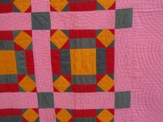 Detail, Antique 1890 1900s Rolling Stone Pennsylvania Quilt Pink Red Green Cheddar | eBay, gb-best