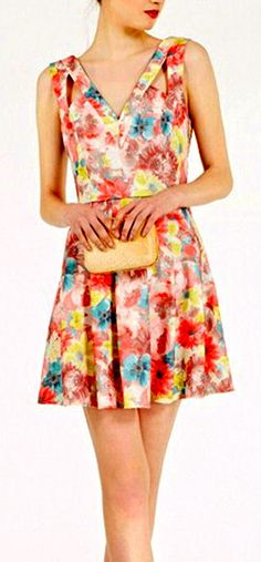 Flowers Print One Piece Dress