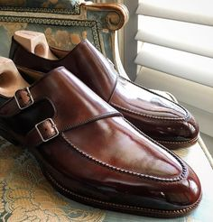 Saint Crispin's Mod 630A. Parallel Double Monk with hand stitched apron, natural sole edge/welt on the Classic last.