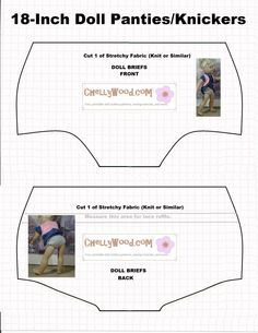 Image of doll underwear pattern (briefs) to fit 18 inch dolls like American Girl Dolls, Journey Girls, Madame Alexander dolls, etc. Free printable pattern for sewing dolly underwear (knickers) girl accessories diy American Girl Outfits, Ropa American Girl, American Doll Clothes, Madame Alexander, Alexander Dolls, Vetements Shoes, Doll Shoe Patterns, Underwear Pattern, Sewing Doll Clothes