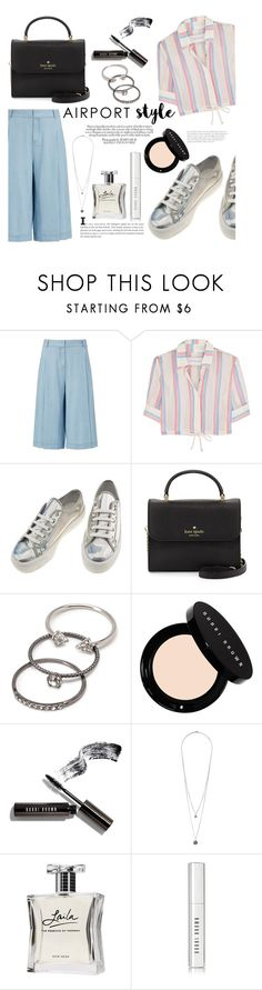 """""""Jet Set: Airport Style (Contest Entry)"""" by raniaghifaraa ❤ liked on Polyvore featuring Diane Von Furstenberg, Solid & Striped, Kate Spade, Forever 21, Bobbi Brown Cosmetics and Laila"""