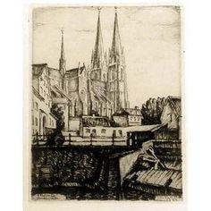 Uppsala Domkyrkan, etsning av Ellis Wallin (1888-1972)