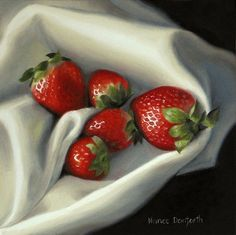 Strawberries on Linen - Original Fine Art for Sale - © Nance Danforth