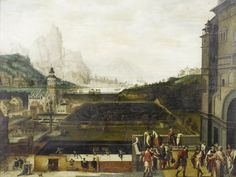 Lucas Gassel (Helmont circa 1500-circa 1570), The grounds of a Renaissance palace with episodes from the story of David and Bathsheba, an extensive landscape with mountains and a harbour beyond, oil on panel, 51 x 68cm (20 1/16 x 26 3/4in).