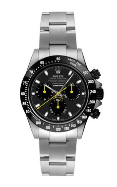 Steel Daytona With Yellow And Black Dial by Bamford