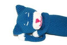 Crochet Amigurumi Cat  Blue and White Tabby by pigswife on Etsy