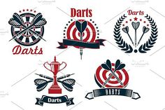 Darts game symbols and icons. Sport Icons. $7.00