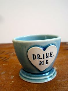 Alice in Wonderland Shot Glass 'Drink Me' heart by ArtHausCeramics, $16.00