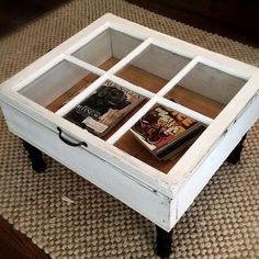 Easy & Creative Decor Ideas - Window Coffee Table - Click Pic for 38 DIY Home Decor Ideas on a room design decorating interior design design design ideas Coffee Table Upcycle, Window Coffee Table, Coffee Table With Storage, Window Table, Coffee Tables, Window Glass, Glass Door, Diy Furniture Easy, Diy Furniture Projects