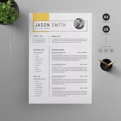 Clean, Modern and Professional Resume and Letterhead design. Fully customizable easy to use and replace color & text. Give an employer a great first impression and help you land your dream job. Cv Design, Resume Design, Brochure Design, Cv Resume Sample, Resume Cv, Effects Photoshop, Adobe Photoshop, Good Cv, It Cv