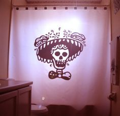 Mexican Folk Art Shower Curtain Skull by CustomShowerCurtains, $90.00