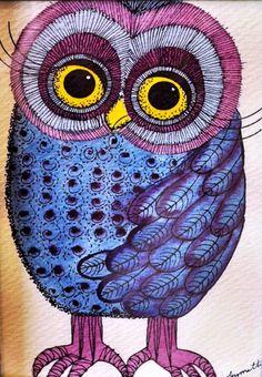 'Purple 70s Owl' by Lynnette April Cooper