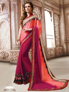 Peach and Magenta Georgette Saree with Embroidery Work