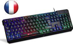 KLIM Chroma Tastatur Gamer AZERTY Französisch mit USB-Kabel – Hohe Leistung – bunte Beleuchtung Gaming Tastatur PC Windows, Mac  EUR 29,90
