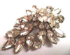 """This is a beautiful piece! They measure approx. 2 3/8"""". A super high quality vintage Juliana D&E piece! Excellent condition! No missing stones! B...  #clear #leaves #silver #vintage #jewelry"""