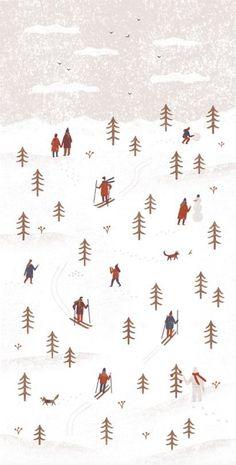 illustration for the postcard client: Ski a Bike Centrum Radotín (Prague, Czech Republic) Illustration Noel, Winter Illustration, Christmas Illustration, Pattern Illustrations, Cute Backgrounds, Cute Wallpapers, Wallpaper Backgrounds, Winter Wallpapers, Iphone Backgrounds