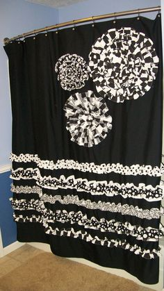 Shower Curtain Custom Made Designer Fabric Ruffles and Flowers Black, White  Damask, Stripes, Dots Check Checker