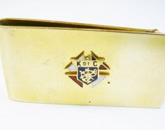 Vintage Money Clip, KNIGHTS OF COLUMBUS, gold tone, red white blue enamel, Fraternity, men's Jewelry, Formal Wear, Gentleman, Wedding Gift