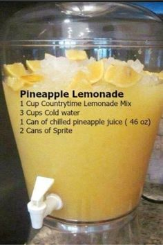BBQ Party Food Ideas for a Crowd - this Pineapple Lemonade is so easy and SO yum. BBQ Party Food Ideas for a Crowd - this Pineapple Lemonade is so easy and SO Yummy Drinks, Healthy Drinks, Yummy Food, Tasty, Healthy Food, Refreshing Drinks, Fruit Drinks, Cold Drinks, Food And Drinks
