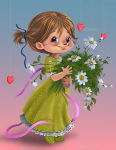 Buy Cute cartoon girl with flowers by Rivusdea on GraphicRiver. Cute cartoon girl with flowers for mom Little Girl Cartoon, Cartoon Girl Drawing, Cute Little Girls, Cartoon Drawings, Cute Kids, Vintage Baby Boys, Happy Birthday Flower, Girls With Flowers, Happy Mother S Day