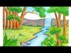 Waterfall scenery drawing for beginners with Oil Pastels - step by step