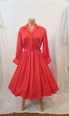 FLAME RED Bruce Arnold silk shirt dress  full by johnnybombshell