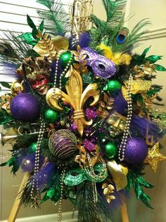 Mardi Gras Wreath New Orleans Style Door Wreath