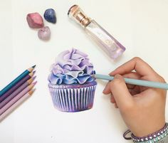 New Cake Illustration Pencil Ideas Pencil Drawing Tutorials, Pencil Drawings, Prismacolor Drawings, 3d Drawings, Drawing Ideas, Food Drawing, Drawing Skills, Cupcakes Wallpaper, Cupcake Drawing