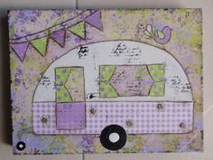 "Caravanning fun ... ""Here are a couple of little mixed media canvas' I finished today. They are both 12 x 10 inch and $50 each. I have used paper, acrylic paint, ink and pastel pencils in them both."" (Made-By-Me....Julie Ryder: August 2012)"